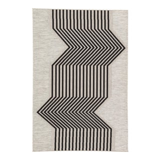 Nikki Chu by Jaipur Living Minya Indoor/ Outdoor Geometric Silver & Black Area Rug - 9′ × 12′ For Sale