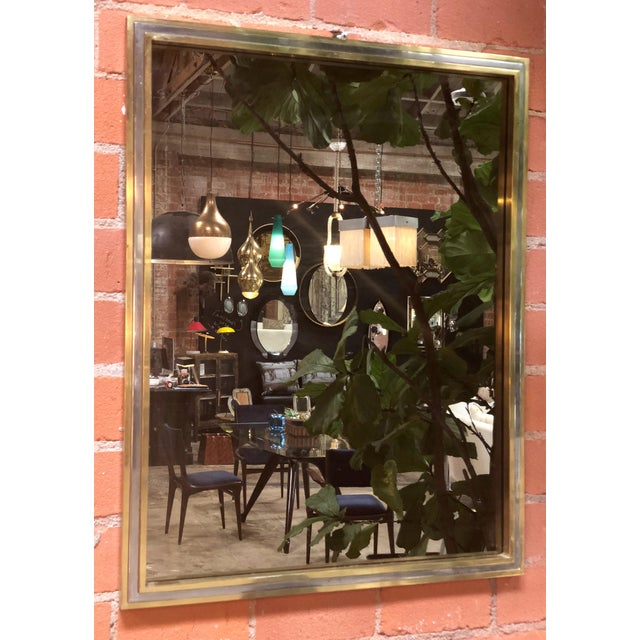 Italian Italian Brass and Chrome Wall Mirror Attributed to Willy Rizzo, 1970s For Sale - Image 3 of 8