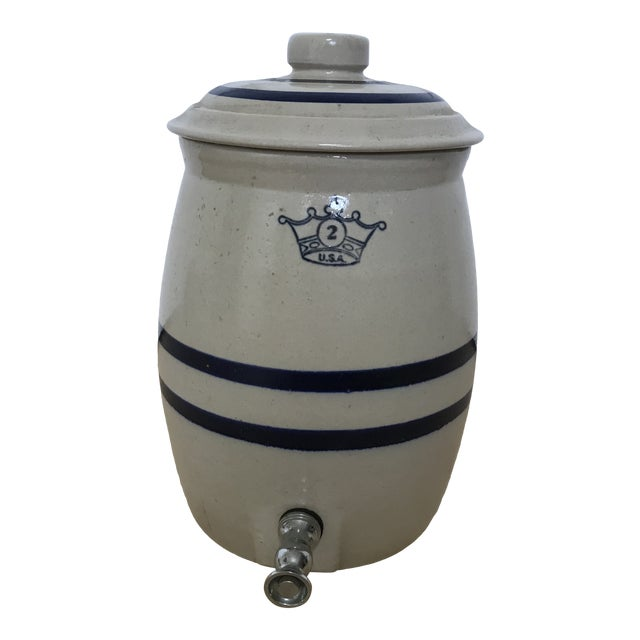 Antique Stoneware Blue Crown Crock Drink Dispenser For Sale