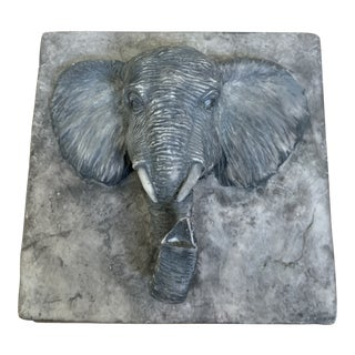 Composite Box With Carved Elephant Head For Sale