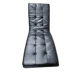 Black Tufted Leather Chaise For Sale