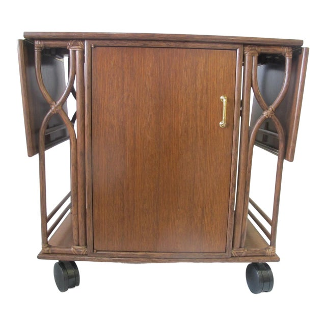 1980s Mid-Century Modern McGuire Wood Dry Bar Rolling Cart For Sale