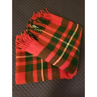 Vintage James Pringle of Scotland Plaid Wool Fringed Blanket Preview