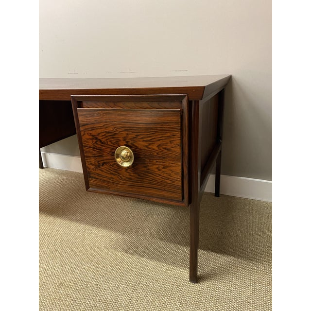 1960s Stunning Vintage Mid Century Modern Rosewood Executive Desk 1960s Brass Hardware Beautiful For Sale - Image 5 of 10