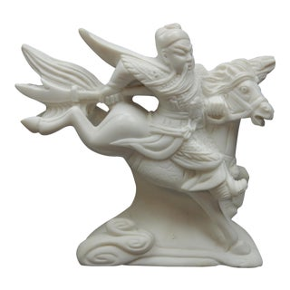 Large Chinese Intricately Carved White Marble Guan Gong Warrior Statue For Sale
