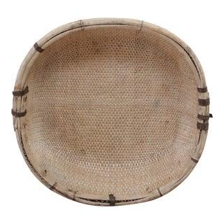 Large Natural Vintage Chinese Basket For Sale