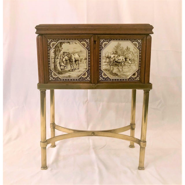 Brass Antique English Humidor on Stand Inlaid With Minton Porcelain Tiles Depicting Horses and Livestock Scenes, Circa 1860-1880. For Sale - Image 7 of 7