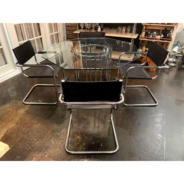 Mid-Century Modern Mart Stam Chrome & Black Cantilever Chairs With Dining Table Set - 5 Pieces For Sale - Image 9 of 9