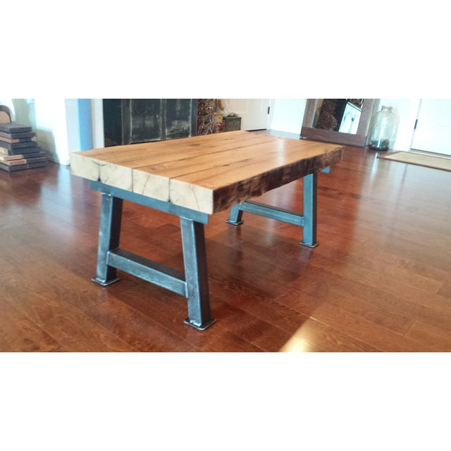 Industrial Reclaimed White Oak Coffee Table - Image 6 of 7
