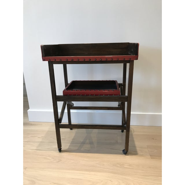 Vintage Leather & Wood Two-Tray Table - Image 2 of 6