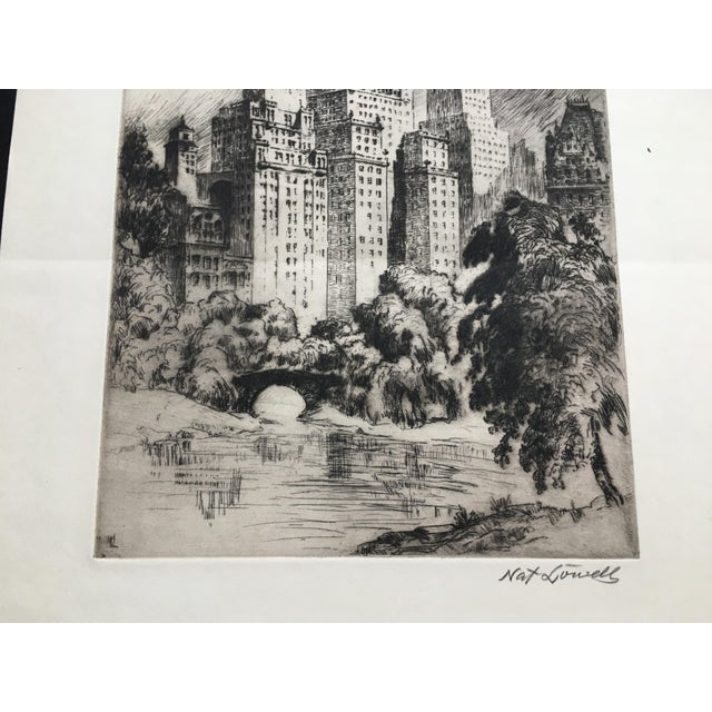 """1940s 1940's New York Etching """"Central Park"""" by Nat Lowell For Sale - Image 5 of 13"""