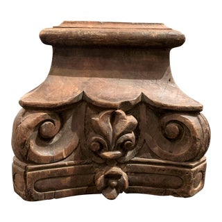 English Colonial Indian Carved Teak Column Base Architectural Element For Sale