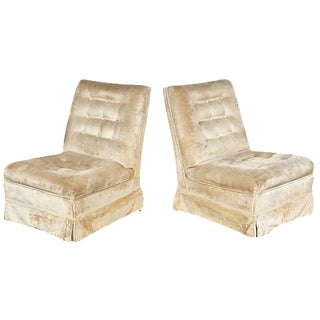 Dunbar Style Tufted Slipper Chairs - A Pair For Sale