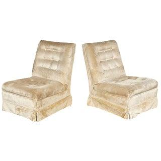 Dunbar Style Tufted Slipper Chairs - A Pair