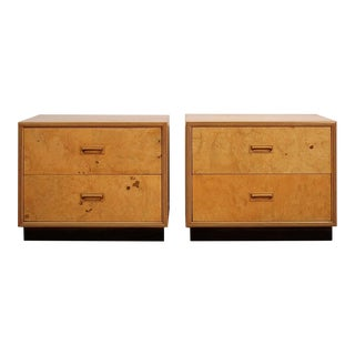 Pair of Henredon Scene Two Olive Burl Wood Nightstands For Sale