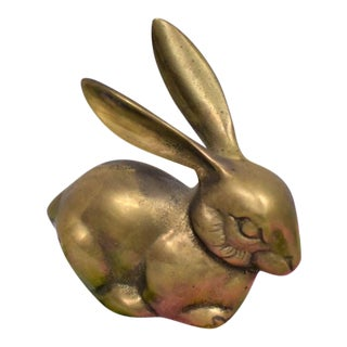1980s Brass Bunny Figurine For Sale