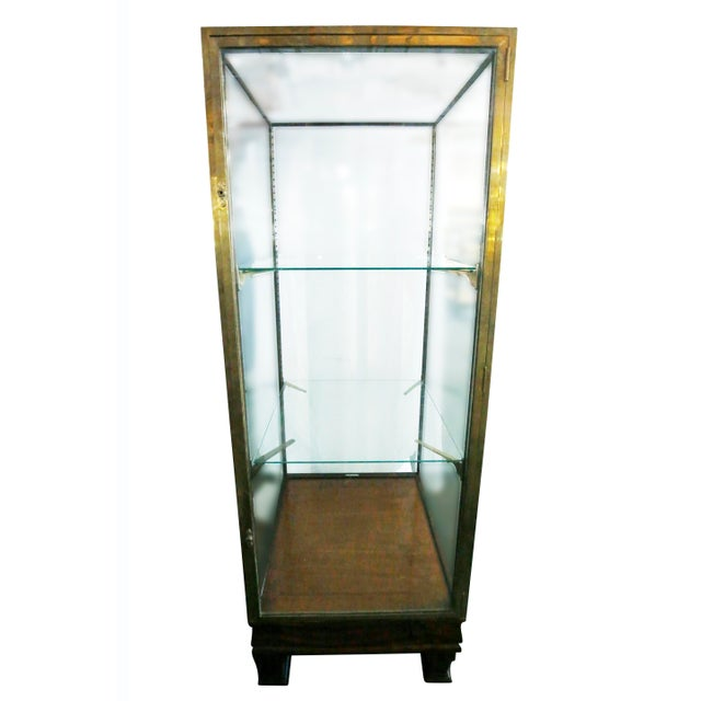 Wood and Brass Display Cabinet For Sale - Image 4 of 6