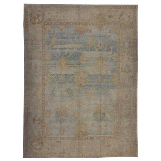 Modern Oushak Style Rug with Transitional Style and Coastal Colors