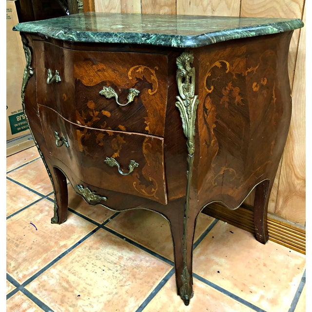 Green French Marquetry Inlay and Marble Top Commodes - a Pair For Sale - Image 8 of 13