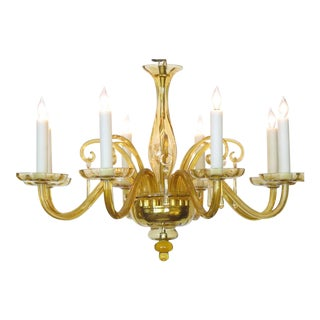 Richly-Colored Murano, 1960s Butterscotch Glass Six-Light Chandelier For Sale