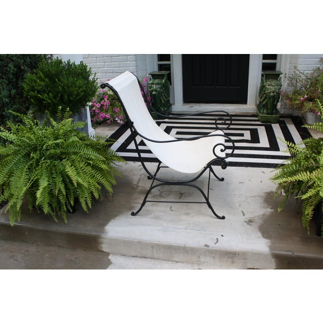 Vintage French Wrought Iron Sling Chair For Sale - Image 12 of 13