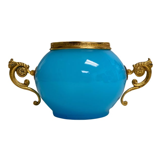 Antique French Vase Blue Opaline With Gilt Handles For Sale