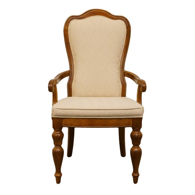 Late 20th Century Vintage Stanley Furniture Italian Tuscan Style Upholstered Dining Arm Chair For Sale - Image 9 of 9
