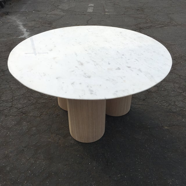 Oversized Pillar Marble Dining Table in White Oak For Sale In Los Angeles - Image 6 of 13
