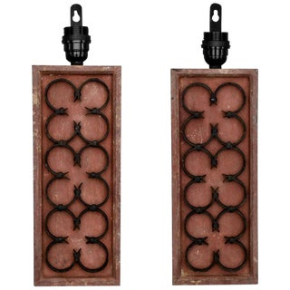 Painted Wood & Triple Iron Quatrefoil Sconces - A Pair For Sale