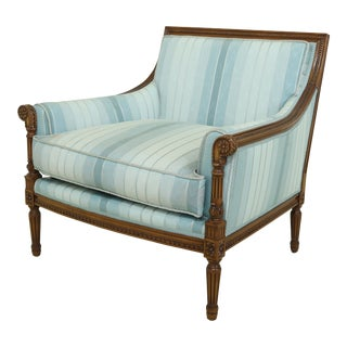 Nancy Corzine French Louis XVI Style Upholstered Chair For Sale