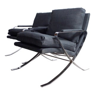 Sale Set of Two Chrome Lounge Chairs by Bernhardt For Sale