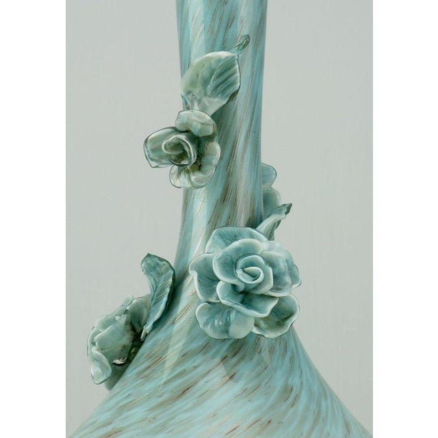 Pair Marbro Blue Murano Glass Table Lamps With Floral Appliques - Image 5 of 6