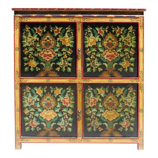 Chinese Tibetan Treasure Color Flower Graphic Credenza Storage Cabinet For Sale