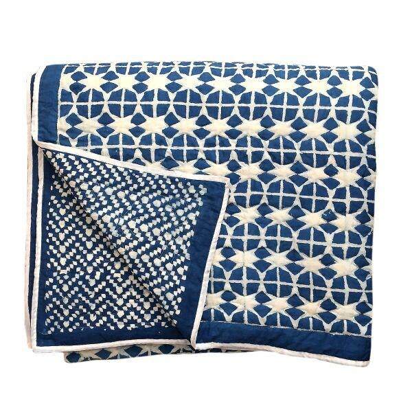 Reversible quilts. Made with 100 % super soft cotton and surgical grade cotton fill. Block printed with wooden blocks with...