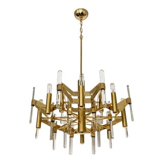 Gold-Plated Brass and Crystal Chandelier by Gaetano Sciolari For Sale