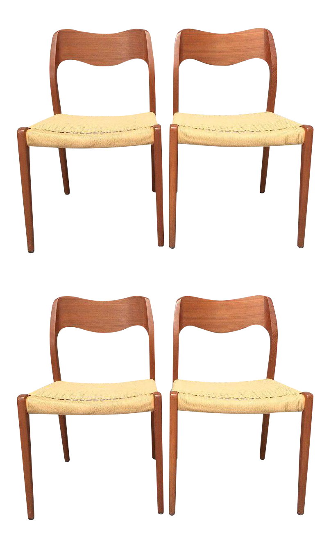 Niels Moller Danish Modern Teak U0026 Cord 71 Chairs   Set Of 4   Image 1
