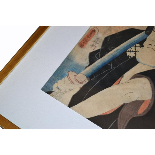 Utagawa Toyokuni III Japanese Gilt Framed Woodblock Print Parchment Paper C. 1857 For Sale - Image 9 of 13