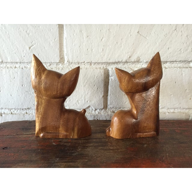 Carved Wood Cats - A Pair - Image 3 of 8