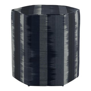 Hexagonal Ottoman in Indigo Ikat Stripe For Sale