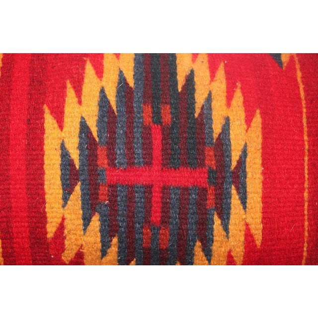 Americana Bold Navajo Indian Weaving Pillow with Fringe For Sale - Image 3 of 5
