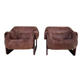 1960s Vintage Percival Lafer Suede Leather Rosewood Bucket Lounge Chairs A Pair For Sale