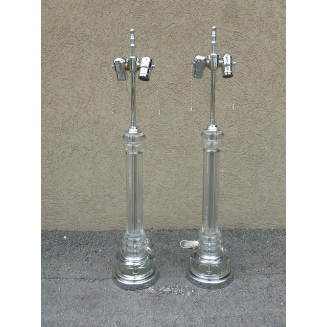 Silver 1930's Vintage Art Deco Tall Tubular Glass and Chrome Lamps- A Pair For Sale - Image 8 of 8