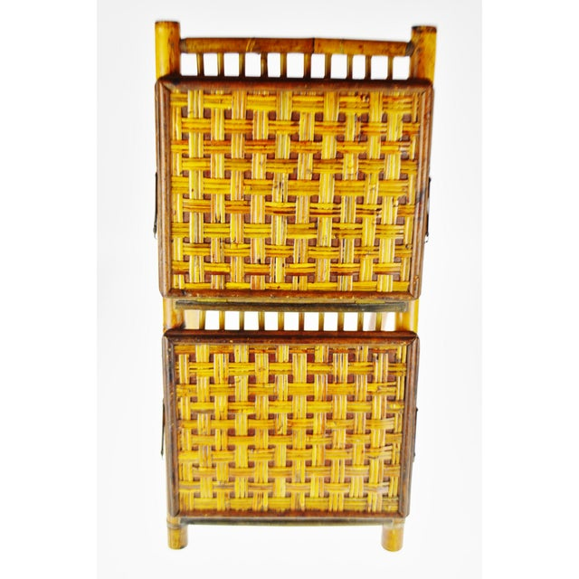 Mid Century Bamboo and Rattan Two Tier Folding Magazine Rack For Sale - Image 10 of 13