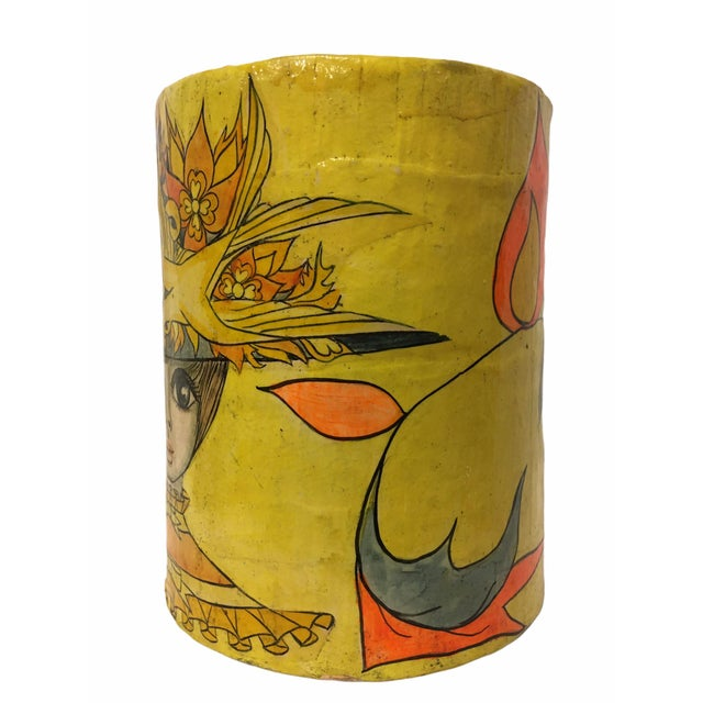 Beautiful mid- century container by Mexican artist Abelardo Ruiz. The colorful motif depicts a woman with a decorative...