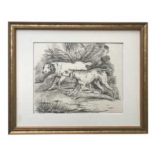 Original Antique Dutch Drawing Dogs in Landscape by Netsher 1831 For Sale