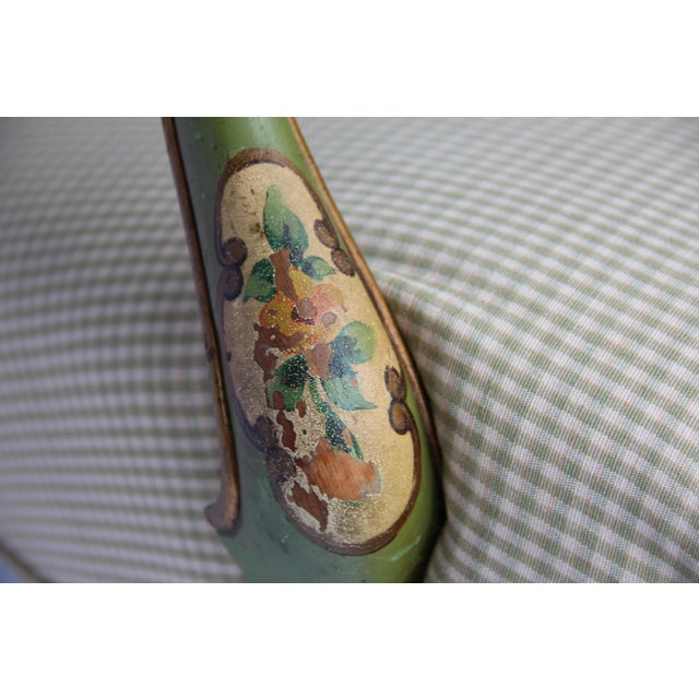 Green 1920s Vintage Italian Venetian Hand Painted Fauteuil Arm Chair For Sale - Image 8 of 11