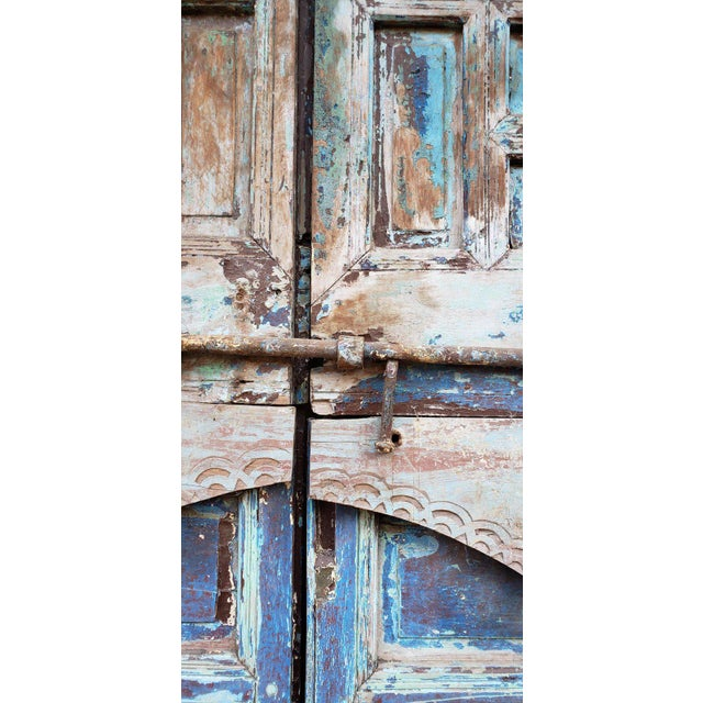 1940s Vintage Moroccan Old Hand Painted Double Door For Sale - Image 4 of 8