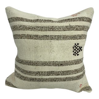 Turkish Striped Design Organic Handwoven Pillow Cover For Sale