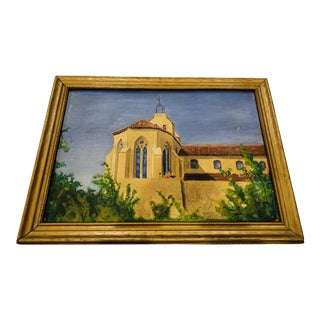 Vintage Mid-Century Mediterranean Style Architecture Scene Oil Painting For Sale