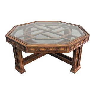 1980s Chippendale Gordon's Fine Furniture Fretwork Coffee Table For Sale